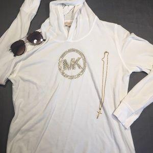 Michael Kors White Hooded Shirt-L